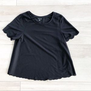 Topshop Black Short Sleeve Scalloped Hem Blouse